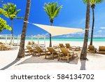 beautiful white sandy beach of... | Shutterstock . vector #584134702