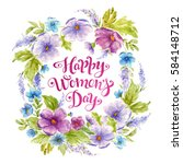 greeting card happy women's day ... | Shutterstock . vector #584148712