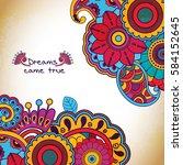 vector floral pattern in doodle ... | Shutterstock .eps vector #584152645