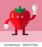 strawberry get the idea holding ... | Shutterstock .eps vector #584157346