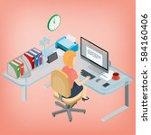 secretary  assistant manager ... | Shutterstock .eps vector #584160406