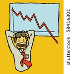 employee panicking over falling graph - stock vector