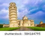 cathedral and the leaning tower ... | Shutterstock . vector #584164795