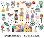 set of cute scandinavian style... | Shutterstock .eps vector #584166226