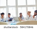 doctors in computer workshop... | Shutterstock . vector #584170846