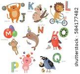 zoo alphabet for children. set... | Shutterstock .eps vector #584177482