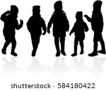 vector silhouette of children... | Shutterstock .eps vector #584180422