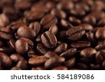 roasted coffee beans closeup...