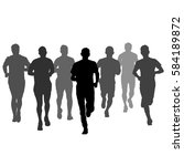 set of silhouettes runners on... | Shutterstock .eps vector #584189872