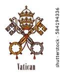 vatican heraldic keys state... | Shutterstock .eps vector #584194336