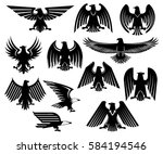 heraldic eagle icons set of...