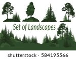 set landscapes  isolated on... | Shutterstock .eps vector #584195566