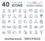 set  line icons in flat design... | Shutterstock . vector #584195632
