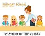 teacher and pupils in school... | Shutterstock .eps vector #584195668
