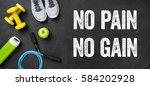 fitness equipment on a dark...   Shutterstock . vector #584202928