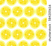 seamless pattern with lemons... | Shutterstock .eps vector #584205616