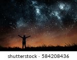 girl watching the stars in... | Shutterstock . vector #584208436