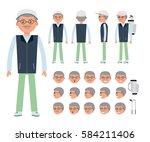 an elderly golfer. man... | Shutterstock .eps vector #584211406