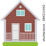 two storey wooden house.... | Shutterstock .eps vector #584211442