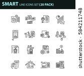 set of thin line business icons.... | Shutterstock .eps vector #584211748