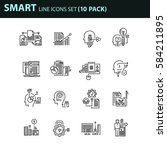 set of thin line business icons.... | Shutterstock .eps vector #584211895
