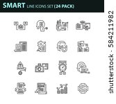 set of thin line business icons.... | Shutterstock .eps vector #584211982