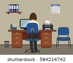 workplace of office worker. the ... | Shutterstock .eps vector #584214742