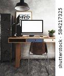 3d rendering of workspace | Shutterstock . vector #584217325