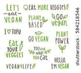 set of vegan text labels.... | Shutterstock .eps vector #584218546