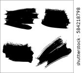 collection of black ink brush... | Shutterstock .eps vector #584218798