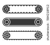 conveyor belt line set on white ... | Shutterstock .eps vector #584218912