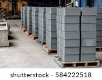 concrete blocks on wooden... | Shutterstock . vector #584222518