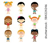 children in swimsuits  | Shutterstock . vector #584224246