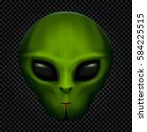green alien face with black... | Shutterstock .eps vector #584225515