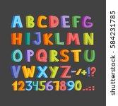 funny comics font. hand drawn... | Shutterstock .eps vector #584231785