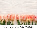 Pink Tulips On White Rustic...