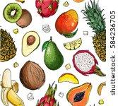 pattern of fruit. fresh food.... | Shutterstock .eps vector #584236705