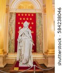 Small photo of February 19, 2017 Moscow. Russia. Statue of Empress Catherine the Great to Catherine (golden) hall. Grand Palace in Tsaritsyno. Fragment of the interior