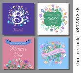 8 march  cards set. design with ... | Shutterstock .eps vector #584239378