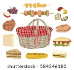 collection of picnic food.... | Shutterstock .eps vector #584246182