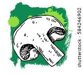 hand drawn mushroom. can be... | Shutterstock .eps vector #584246902