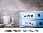 divorce and lawyer. two binders ... | Shutterstock . vector #584257096