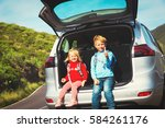 little boy and girl travel by... | Shutterstock . vector #584261176