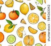 pattern. citrus. set of fruit.... | Shutterstock .eps vector #584263342
