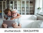 senior couple using digital... | Shutterstock . vector #584264998