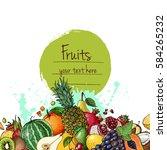 fresh food. watermelon ... | Shutterstock .eps vector #584265232
