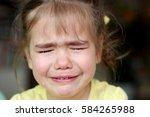 cute preschooler blond girl... | Shutterstock . vector #584265988