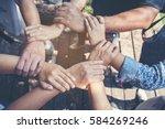 customer loyalty team.... | Shutterstock . vector #584269246