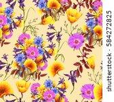 seamless pattern of summer... | Shutterstock . vector #584272825