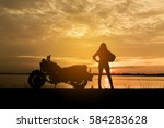 silhouette woman biker and... | Shutterstock . vector #584283628